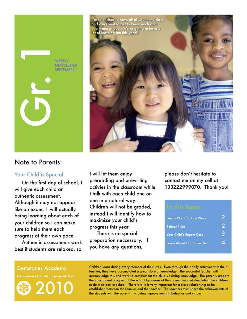 Parent Newsletter Weekly